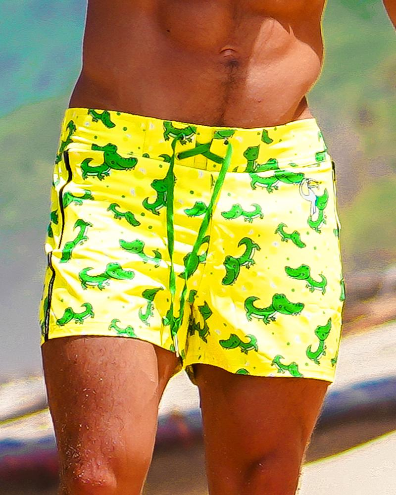 Croc Yellow Swim Shorts