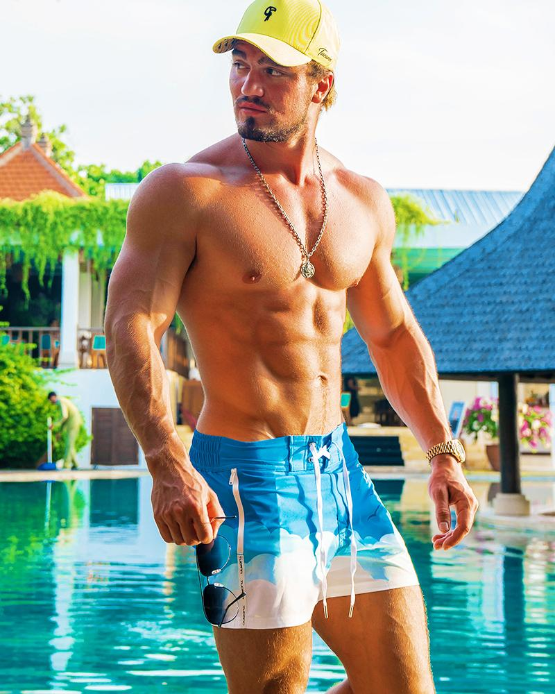 Blue Skies White Swim Shorts