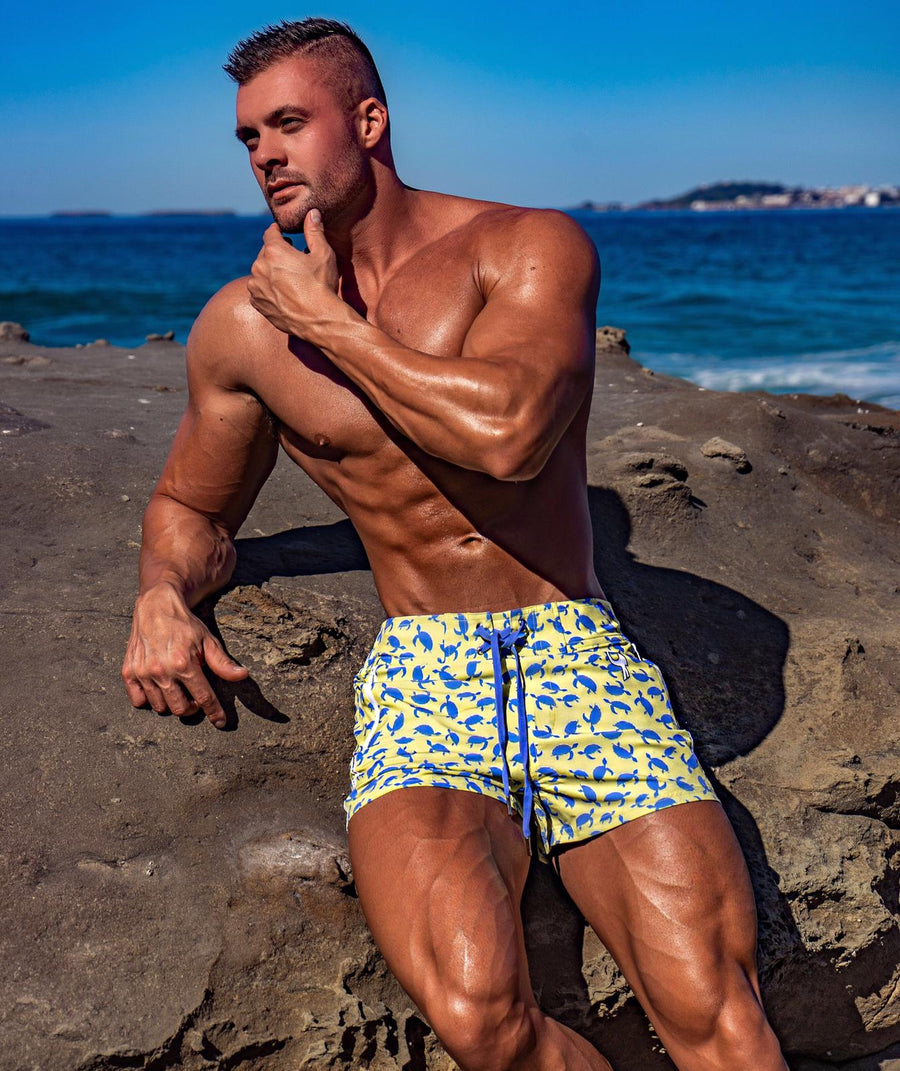 Blue Turtles Yellow Swim Shorts