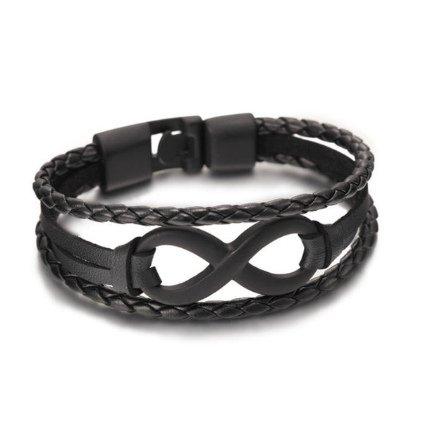 Infinity Leather Bracelet Black