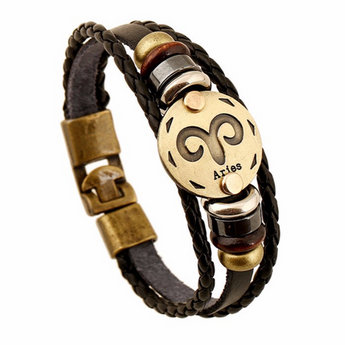 Zodiac Leather Bracelet Aries