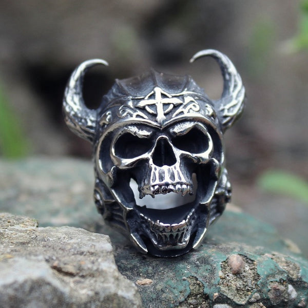 Warrior Horns Skull Ring
