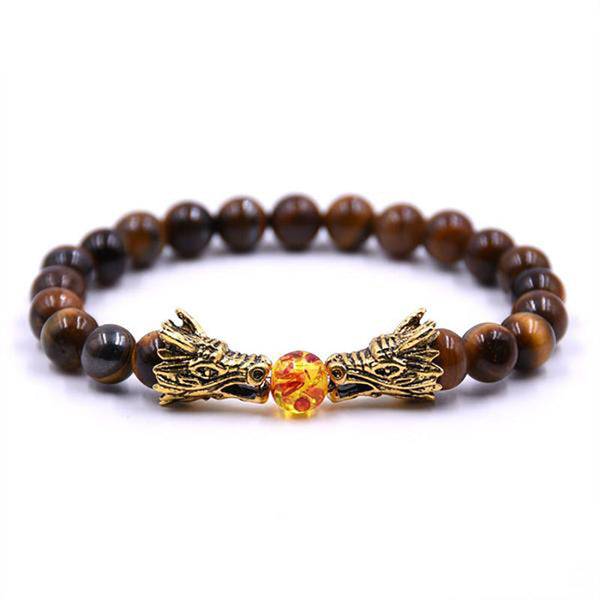 Dragon Fire Ball Beads Bracelet Brown