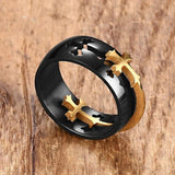 Removable Cross Ring Gold