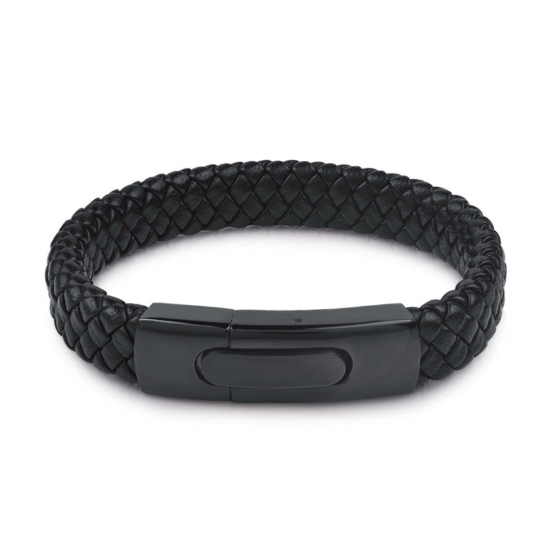 Titanium Leather Bracelet Black