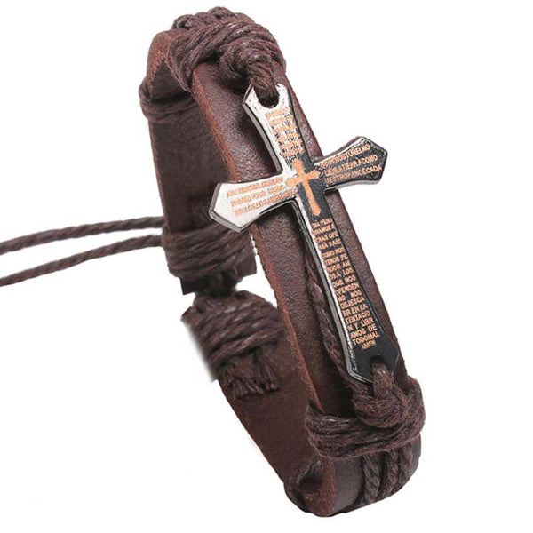 Engraved Cross Leather Bracelet Brown