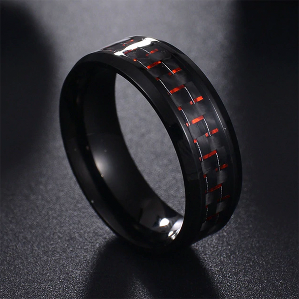 Textured Titanium Ring Red