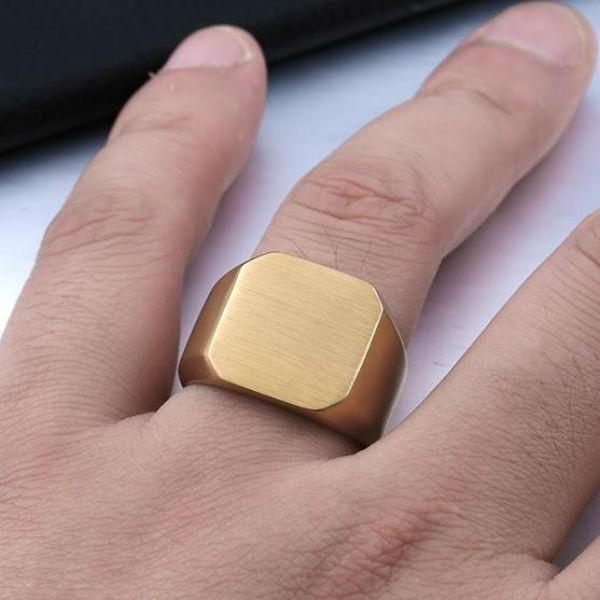 Square Brushed Signet Gold Ring