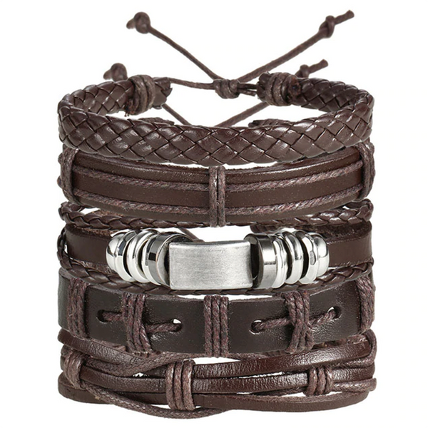 Multiple Leather Bracelet Set Brown