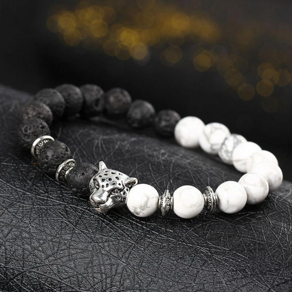 LEOPARD BEADED BRACELET BLACK WHITE