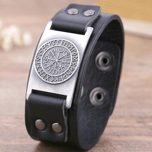 Vegvisir Leather Bracelet Black Silver
