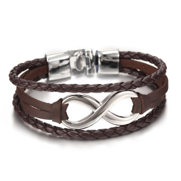 Infinity Leather Bracelet Silver Brown