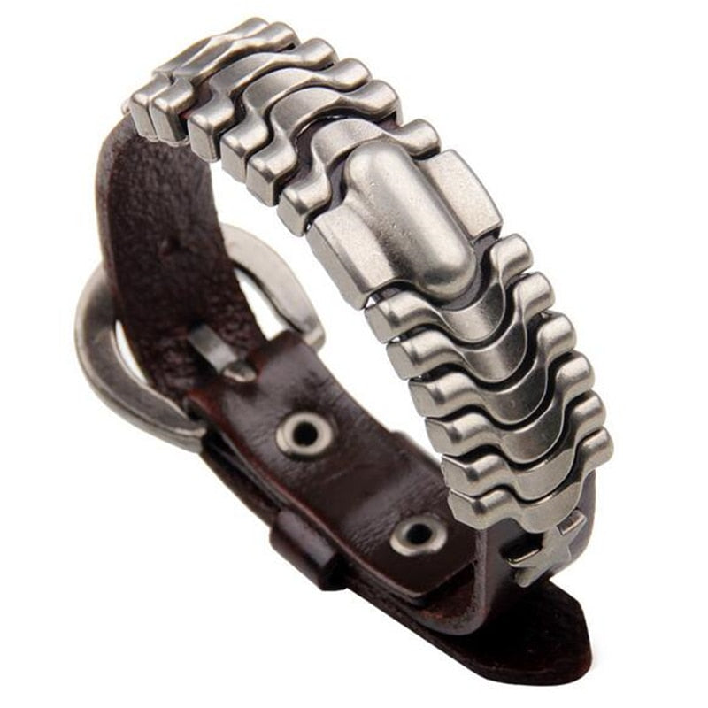 Steel Core Belt Bracelet Brown