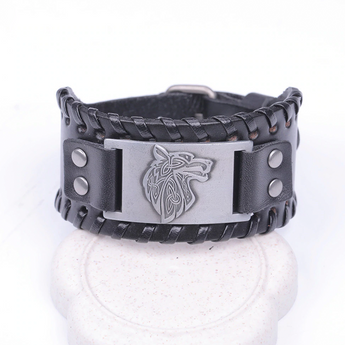 Triquet Wolf Leather Bracelet Black Silver