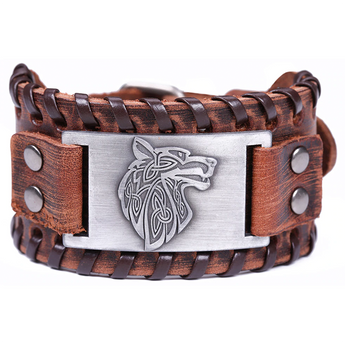 Triquet Wolf Leather Bracelet Brown Silver
