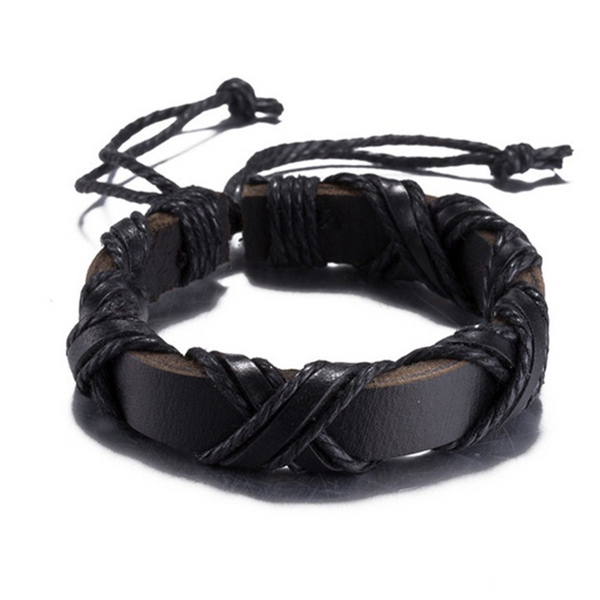 Criss-Crossed Strings Leather Bracelet Black
