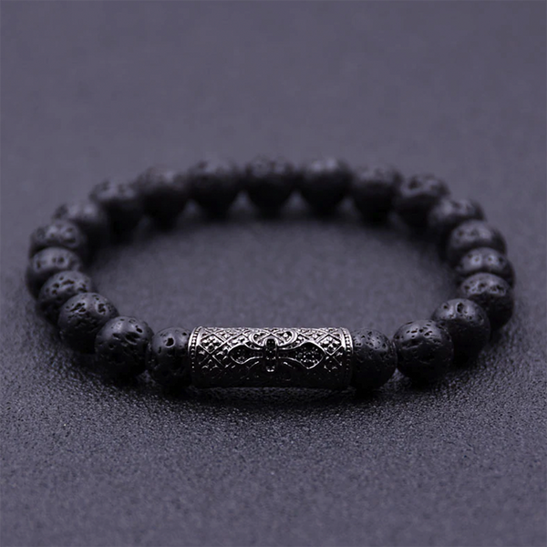 Zirconia Tubular Beads Bracelet Black