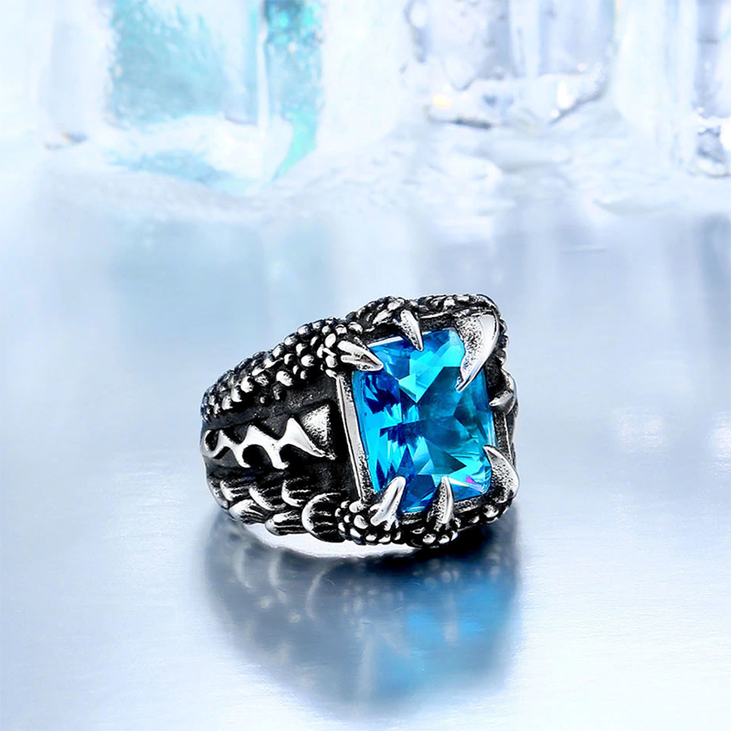 Domineering Dragon Claw Ring Sky Blue