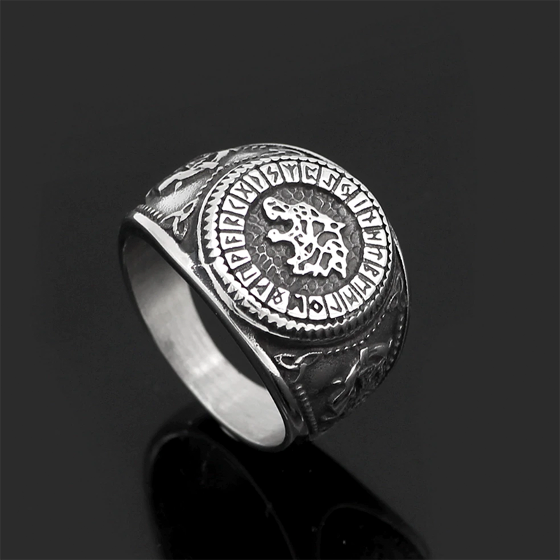 Odin Wolf Norse Rune Ring
