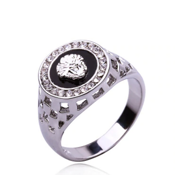 Majestic Lion Stone Ring Silver