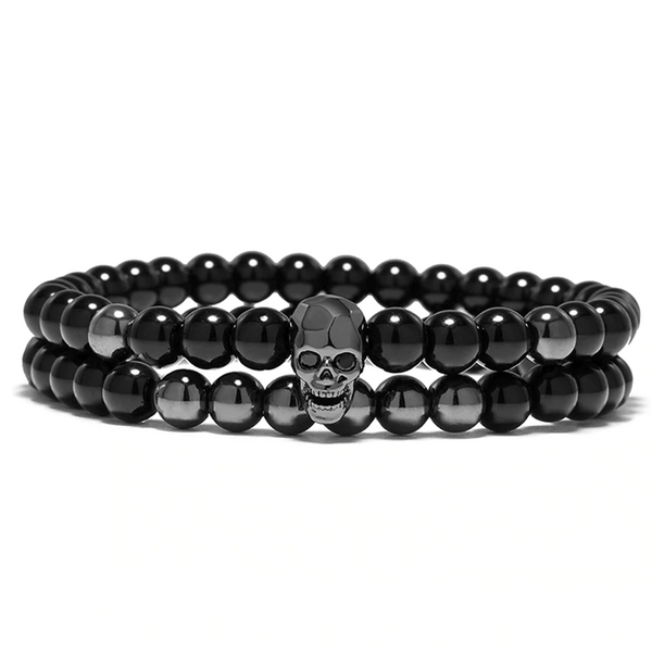 Smirk Skull Bracelet Set Black Gray