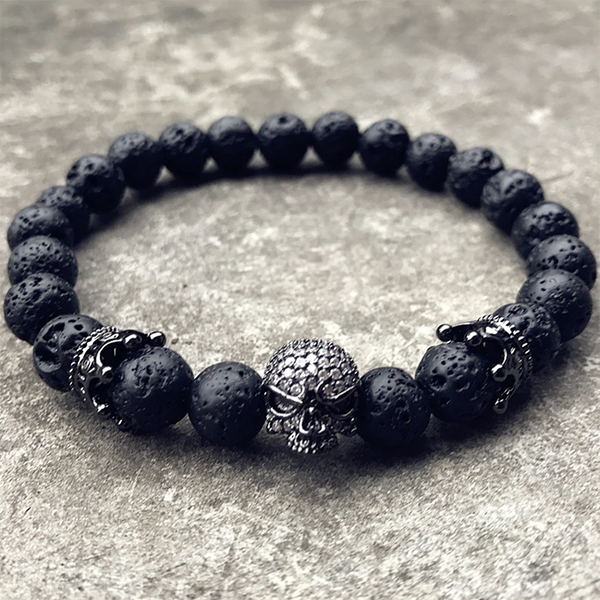 Royalty Skull Bracelet Black
