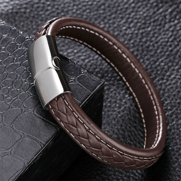 Strap And Braid Leather Bracelet Brown