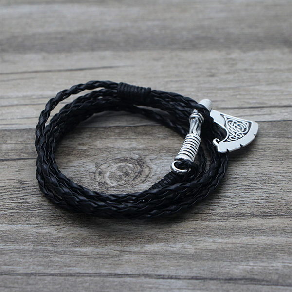 Iconic Viking Axe Leather Bracelet