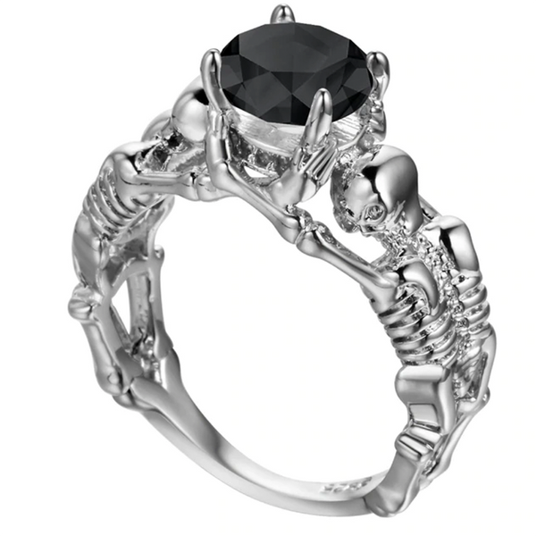 Servers Of The Stone Skull Ring Black