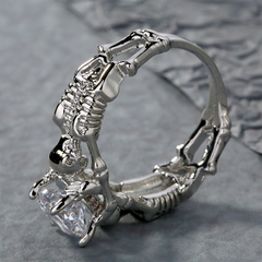 Servers Of The Stone Skull Ring White