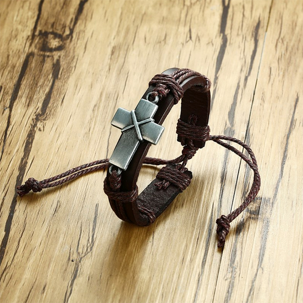 Procession Cross Leather Bracelet