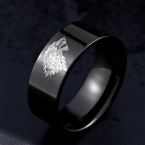 Ice Wolf Ring Black