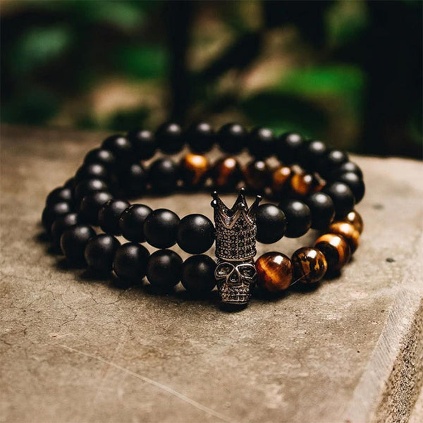 Crowned Skull Bracelet Set