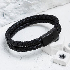 Double Leather Bracelet Black