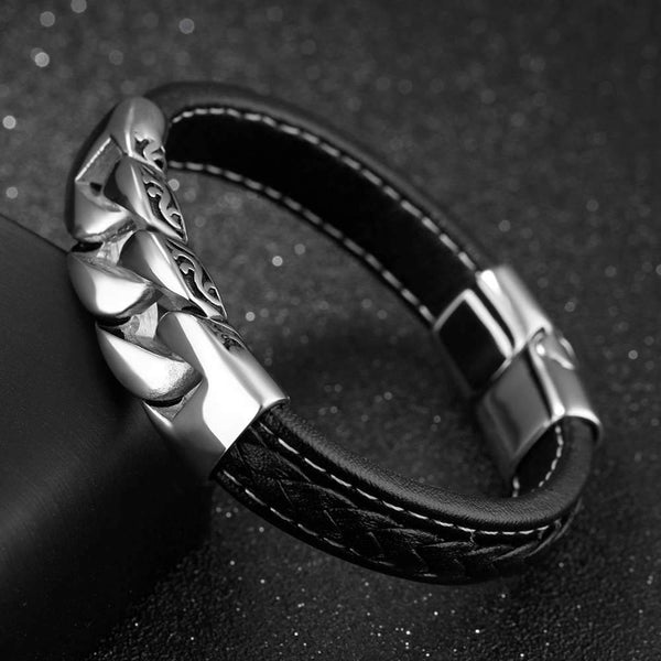 Steel Chain Leather Bracelet