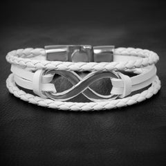 Infinity Leather Bracelet Silver White