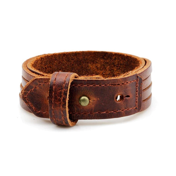 Multi Straps Leather Bracelet Brown