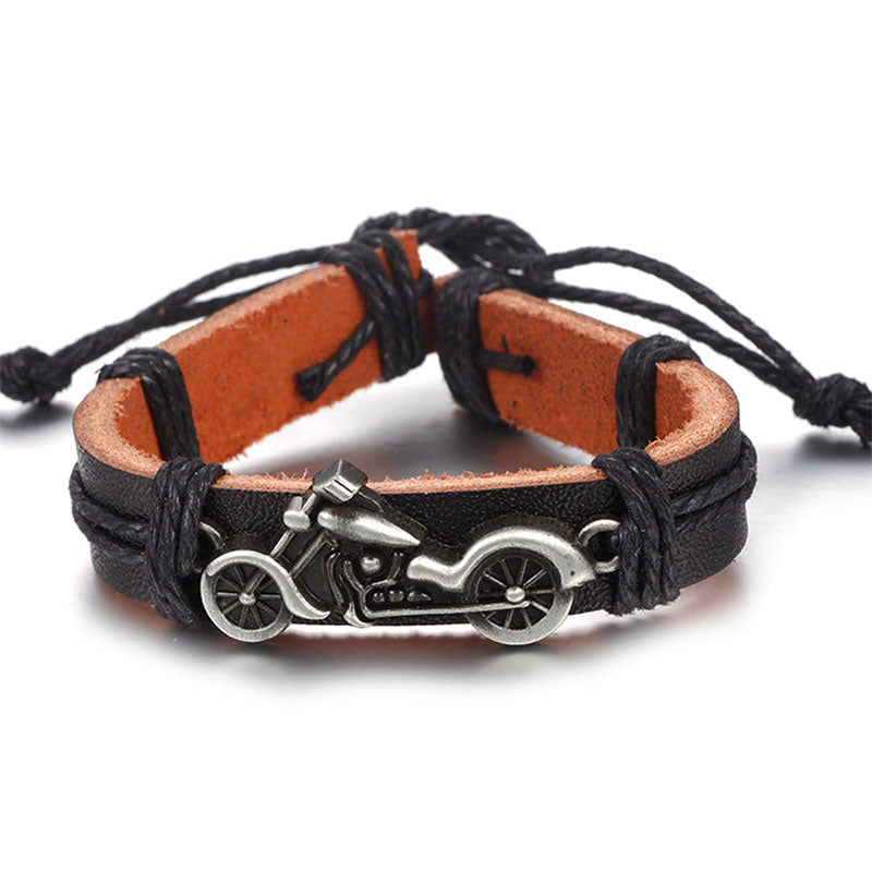 Motorcycle Leather Bracelet Black
