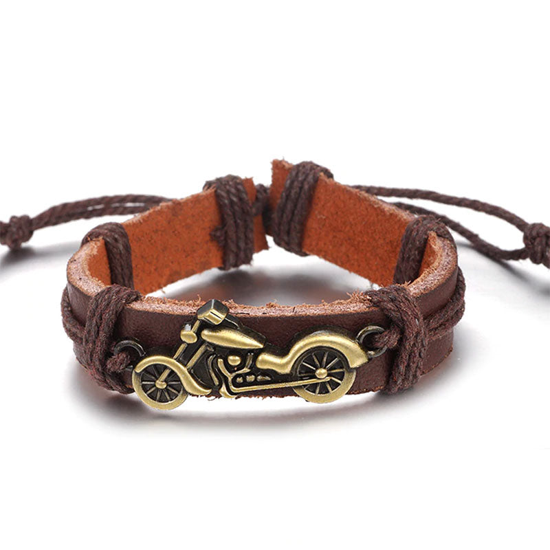 Motorcycle Leather Bracelet Brown