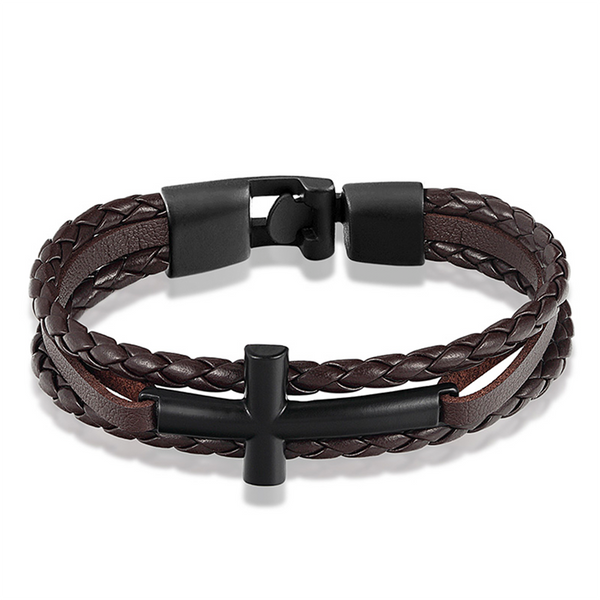 Horizontal Cross Bracelet Black Brown