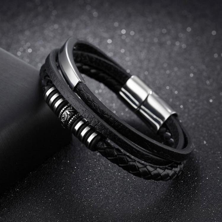 Lis Leather Bracelet Black Silver