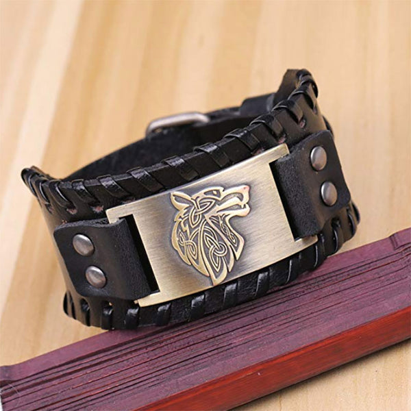 Triquet Wolf Leather Bracelet Black Bronze