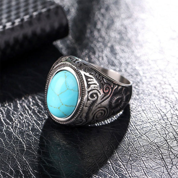 Vintage Stone Ring Blue