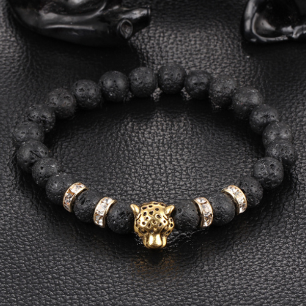 Leopard Beaded Bracelet Gold