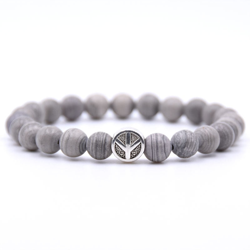 Peace Sign Bracelet Gray
