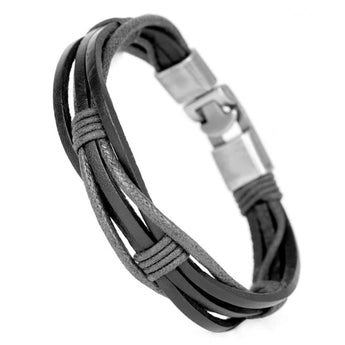 Bandage Leather Multilayer Bracelet Black