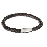 Scales Braid Leather Bracelet Black