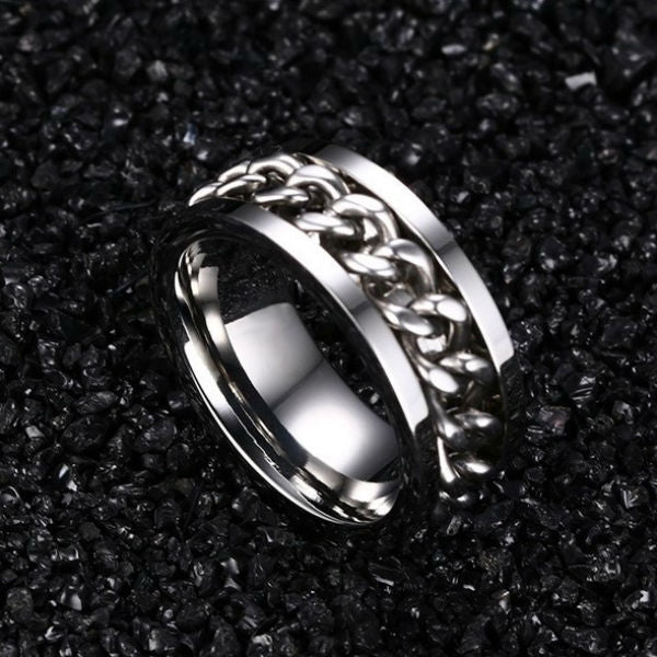 Chain Spin Ring Silver