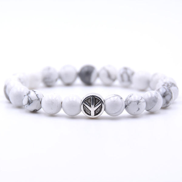 Peace Sign Bracelet White Marble