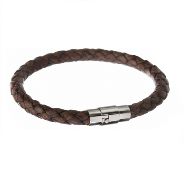 Scales Braid Leather Bracelet Dark Brown